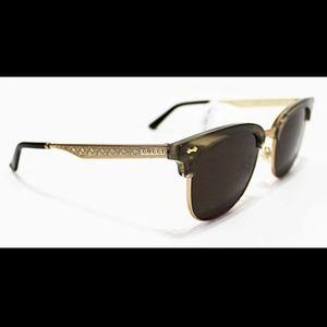 Italy GUCCI Men's Gold Wide Clubmaster Sunglasses